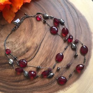 NY & Co NWT! faux Ruby Layered Necklace